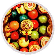 Vintage Sweets Store Round Beach Towel