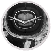 Vintage Tail Fin In Black And White Round Beach Towel