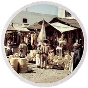 Round Beach Towel featuring the photograph Vintage Toluca Mexico Market by Marilyn Hunt