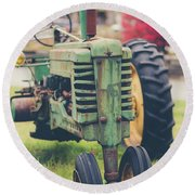 Round Beach Towel featuring the photograph Vintage Tractor Autumn by Edward Fielding