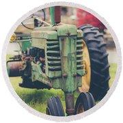 Vintage Tractor Autumn Round Beach Towel by Edward Fielding