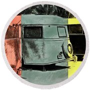 Round Beach Towel featuring the painting Sarasota Series Vintage Trailer Park Pop Art by Edward Fielding
