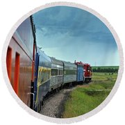 Round Beach Towel featuring the photograph Vintage Train by Ann E Robson