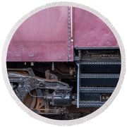 Round Beach Towel featuring the photograph Vintage Train Car Steps by Terry DeLuco