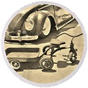 Vintage Transportation Round Beach Towel