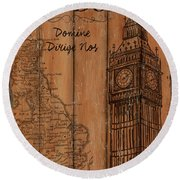 Vintage Travel London Round Beach Towel
