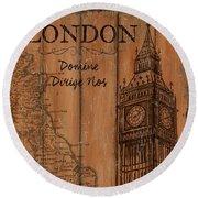 Vintage Travel London Round Beach Towel by Debbie DeWitt