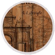 Vintage Travel Madrid Round Beach Towel