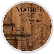 Round Beach Towel featuring the painting Vintage Travel Madrid by Debbie DeWitt