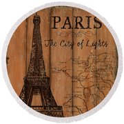 Vintage Travel Paris Round Beach Towel