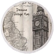 Vintage Travel Poster London Round Beach Towel by Debbie DeWitt