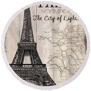 Vintage Travel Poster Paris Round Beach Towel by Debbie DeWitt