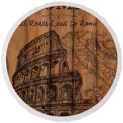 Vintage Travel Rome Round Beach Towel