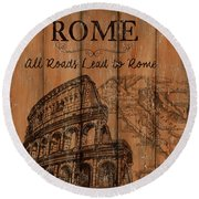 Round Beach Towel featuring the painting Vintage Travel Rome by Debbie DeWitt
