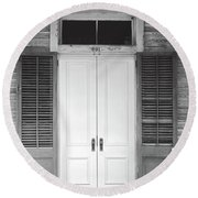 Round Beach Towel featuring the photograph Vintage Tropical Weathered Key West Florida Doorway by John Stephens