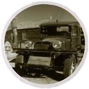 Old Truck 1927 - Vintage Photo Art Print Round Beach Towel by Art America Gallery Peter Potter