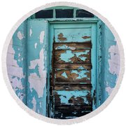 Round Beach Towel featuring the photograph Vintage Turquoise Door  by Saija Lehtonen