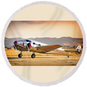 Les Whittlesey's Lockheed Electra 12a Round Beach Towel