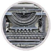 Vintage Typewriter Photo Paint Round Beach Towel