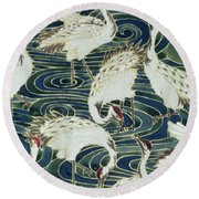 Vintage Wallpaper Design Round Beach Towel by English School