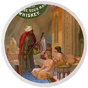Vintage Whiskey Ad 1883 Round Beach Towel by Padre Art