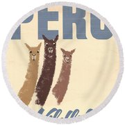 Vintage Wild Life Travel Llamas Round Beach Towel by Mindy Sommers