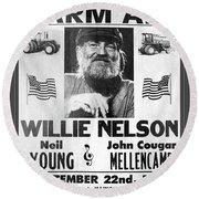Vintage Willie Nelson 1985 Farm Aid Poster Grayscale Round Beach Towel
