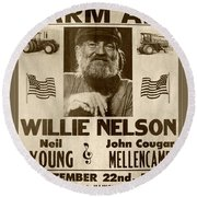 Vintage Willie Nelson 1985 Farm Aid Poster Toned Round Beach Towel