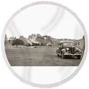 Round Beach Towel featuring the photograph Vintage Window Rock Agency by Marilyn Hunt