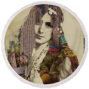Vintage Woman Built By New York City 1 Round Beach Towel