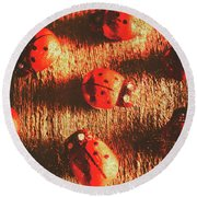 Vintage Wooden Ladybugs Round Beach Towel