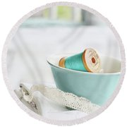Vintage Wooden Spools Of Thread In Vintage Tea Cup Round Beach Towel