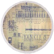 Vintage Yankee Stadium Blueprint Round Beach Towel