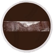 Round Beach Towel featuring the photograph Vintage Yosemite Valley 1899 by John Stephens