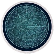 Vintage Zodiac Map - Teal Blue Round Beach Towel
