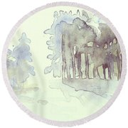 Vintrig Skogsglanta, A Wintry Glade In The Woods 2,83 Mb_0047 Up To 60 X 40 Cm Round Beach Towel