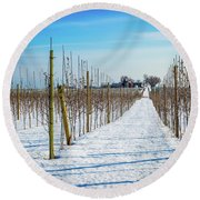 Vinyard On Down Road  Round Beach Towel