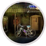 Round Beach Towel featuring the photograph Vinyl Club Bicycle by Craig J Satterlee