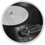 Vinyl Record Playing On A Turntable Overview Round Beach Towel