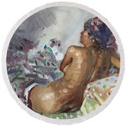 Nude In Violet Round Beach Towel