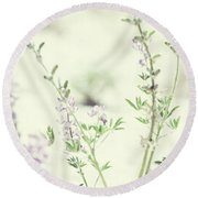Violet And Green Bloom Round Beach Towel