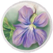 Violet And Leaf Round Beach Towel
