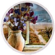 Violet Beach Flowers Round Beach Towel