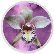 Violet Colored Lauritzen Orchid Round Beach Towel