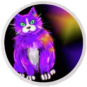 Round Beach Towel featuring the painting Violet Dizzycat by DC Langer