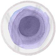 Violet Drops 2- Art By Linda Woods Round Beach Towel