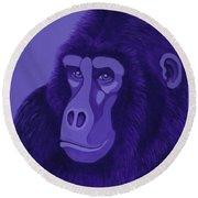 Violet Gorilla Round Beach Towel