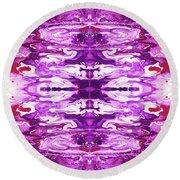 Violet Groove- Art By Linda Woods Round Beach Towel