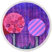 Violet Grove Round Beach Towel