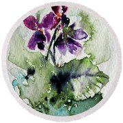 Round Beach Towel featuring the painting Violet Iv by Kovacs Anna Brigitta